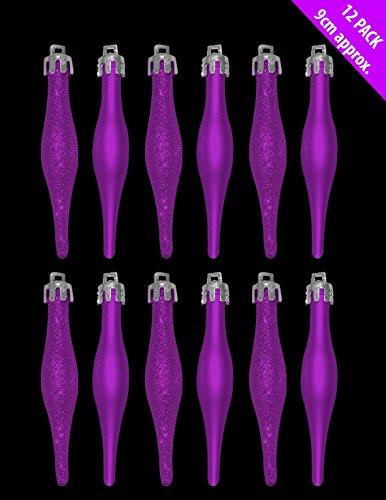 12-x-9-centimetri-purple-glitter-Matt-Droplet-Decorazioni-Albero-di-Natale-0