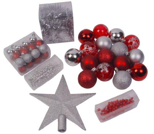 ADDOBBI-NATALIZI-Kit-di-44-pezzi-per-albero-di-Natale-Ghirlande-palline-e-puntale-Tema-cromatico-ROSSO-e-ARGENTO-0
