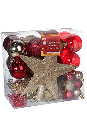 ADDOBBI-NATALIZI-Kit-di-44-pezzi-per-albero-di-Natale-Ghirlande-palline-e-puntale-Tema-cromatico-ROSSO-e-ORO-0