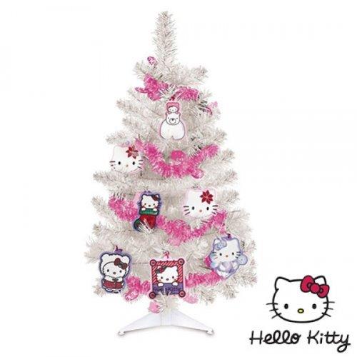 Albero-di-Natale-HELLO-KITTY-Bianco-con-12-decori-e-ghirlanda-0