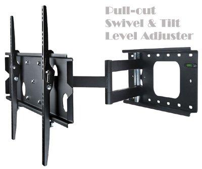 Allcam-PLB126M-Universal-37-40-42-46-50-55-TV-Wall-Bracket-Pull-out-Swivel-Tilt-LED-LCD-Plasma-TVs-in-Black-w-free-TV-cleaning-Kit-0