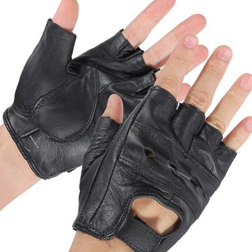 AUDEW-durevole-Media-in-pelle-senza-dita-Moto-Guanti-Ventilato-nero-bovina-bicicletta-i-guanti-0