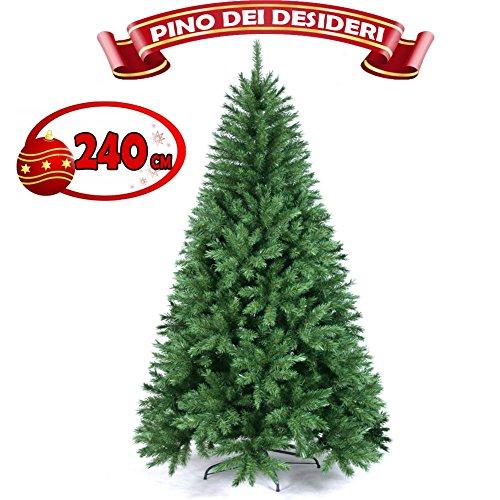 ALBERO-DI-NATALE-240CM-PINO-DEI-DESIDERI-ECOLOGICO-BASE-A-CROCE-IN-FERRO-1315-RAMI-INNESTO-AD-UNCINO-0
