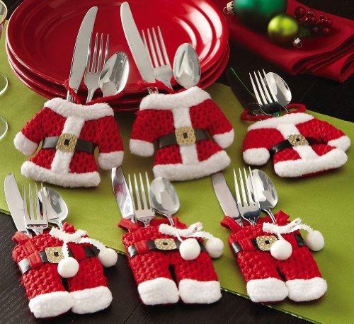 insieme-di-6-Babbo-Natale-vestito-di-tasche-porta-posate-0