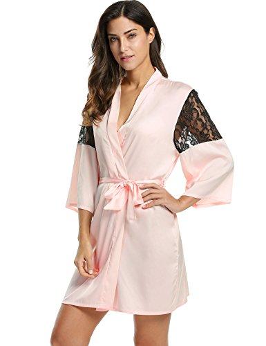 AVIDLOVE-Abiti-Kimono-Camicia-da-notte-Accappatoio-Pigiameria-da-Donna-con-Cintura-Patchwork-di-Pizzo-Manica-34-0