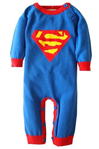 Keral-Manica-Lunga-tutine-Neonato-Cotone-Superman-Pigiama-Natale-0
